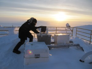 Adjusting a sun tracker on the roof of PEARL