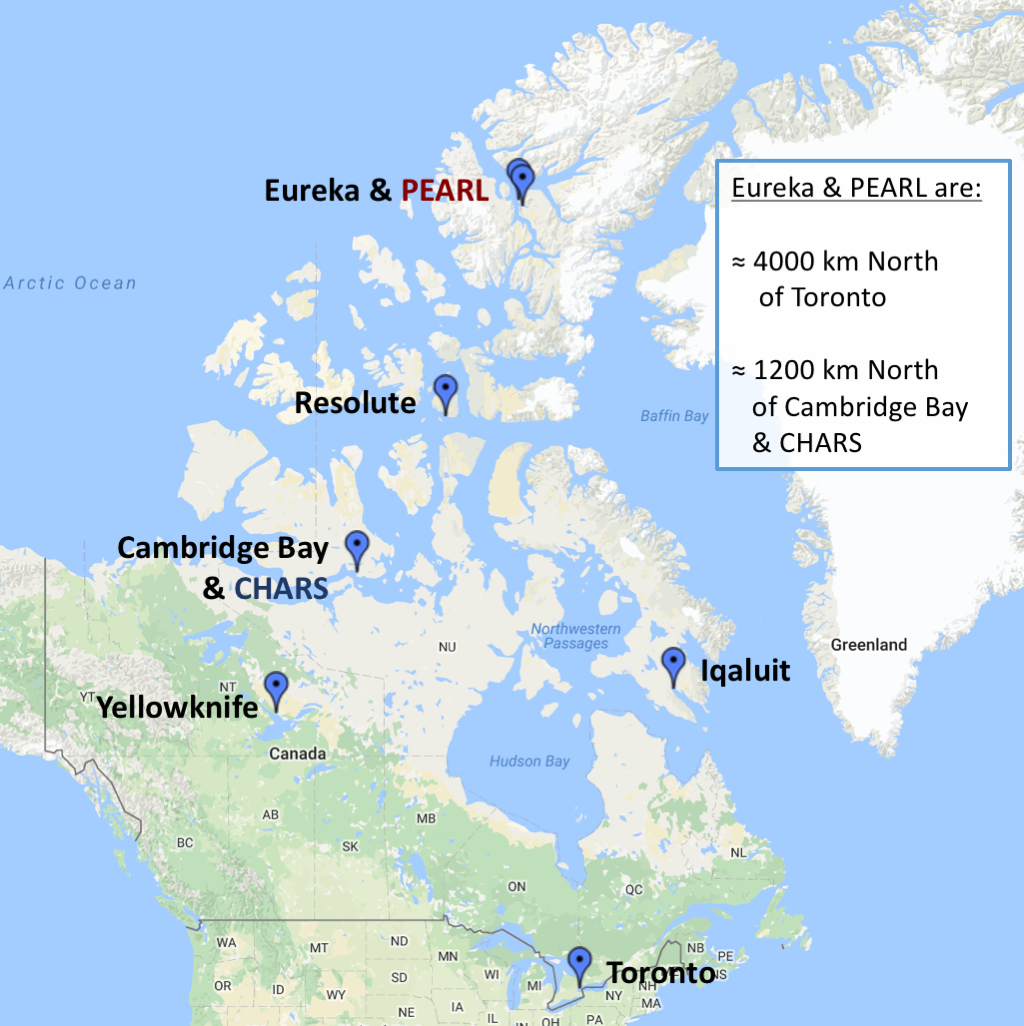 Map Of Cambridge Canada Map showing location of CHARS & Cambridge Bay and Eureka & PEARL
